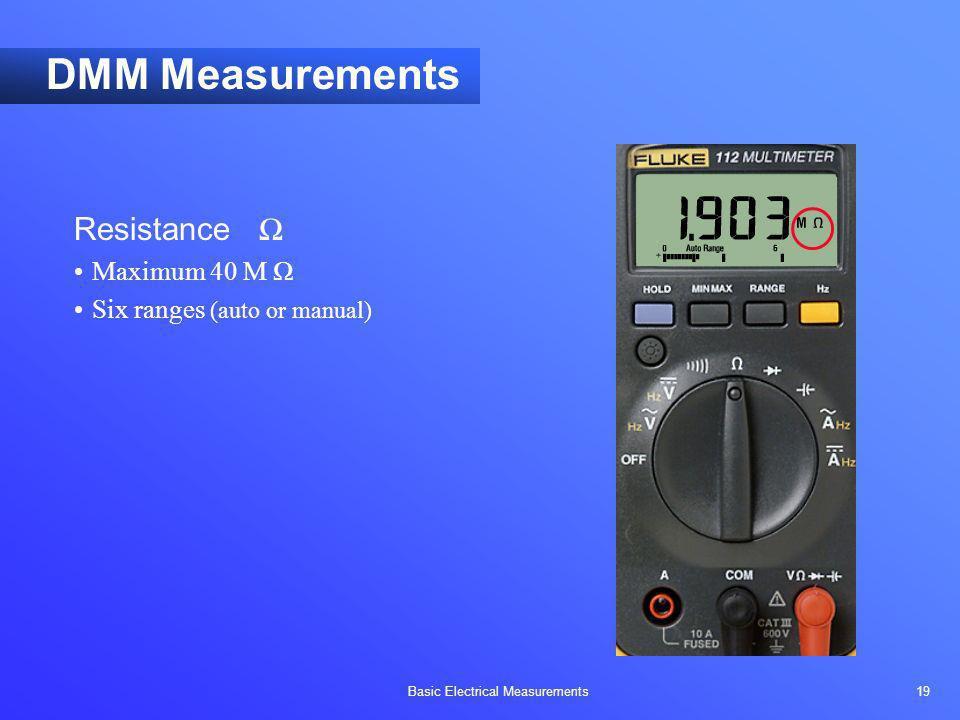 Basic Electrical Measurements 19 DMM Measurements Resistance Maximum 40 M Six ranges (auto or manual)