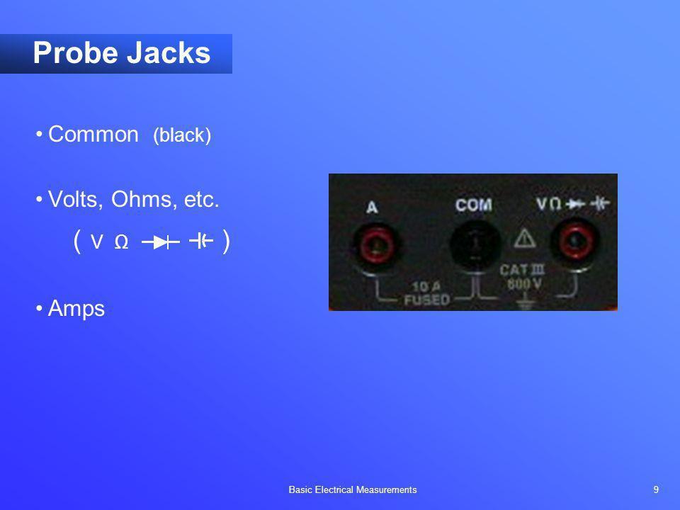 Basic Electrical Measurements 9 Probe Jacks Common (black) Volts, Ohms, etc. ( V ) Amps