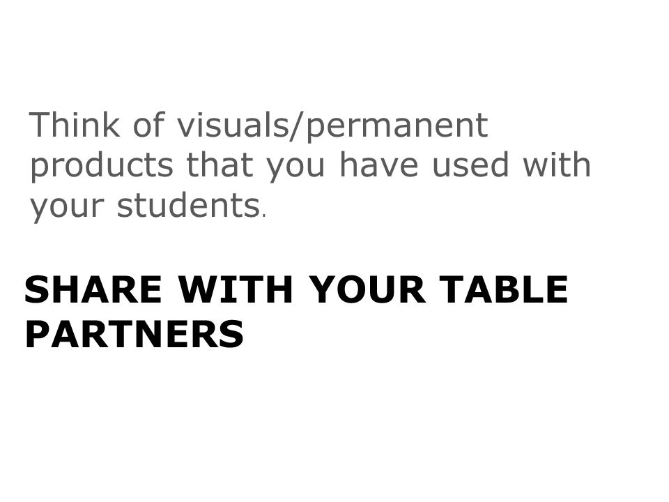 SHARE WITH YOUR TABLE PARTNERS Think of visuals/permanent products that you have used with your students.