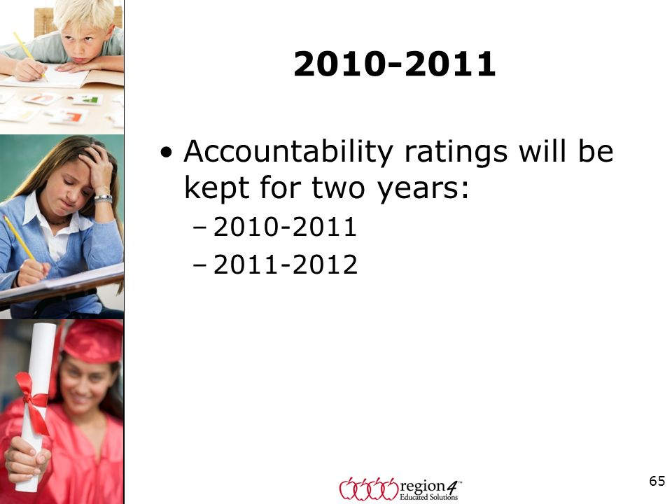 2010-2011 Accountability ratings will be kept for two years: –2010-2011 –2011-2012 65