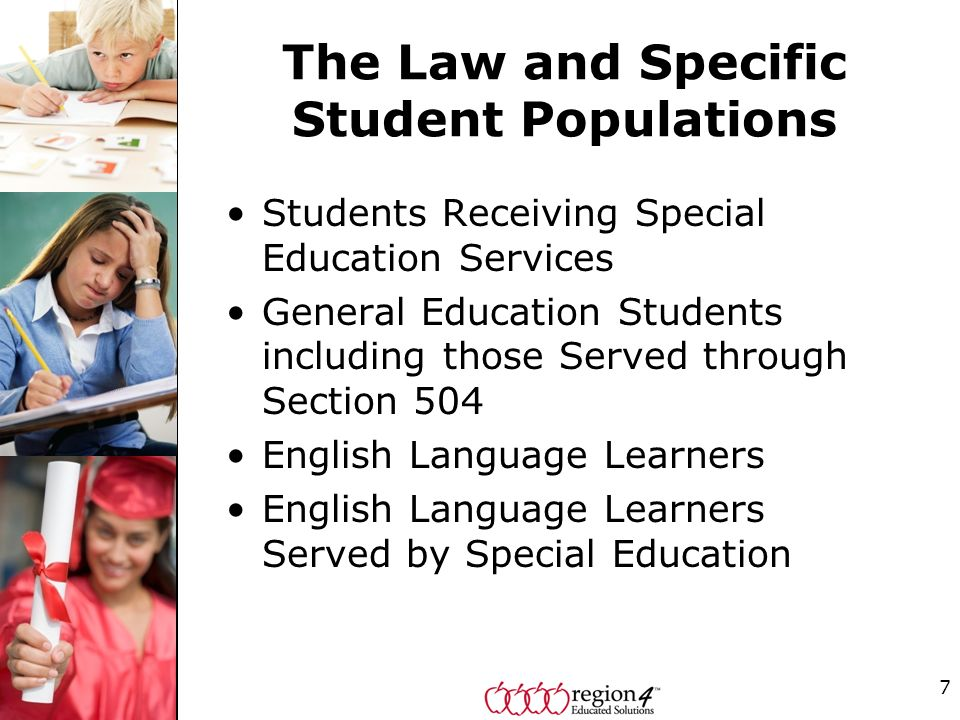 The Law and Specific Student Populations Students Receiving Special Education Services General Education Students including those Served through Secti