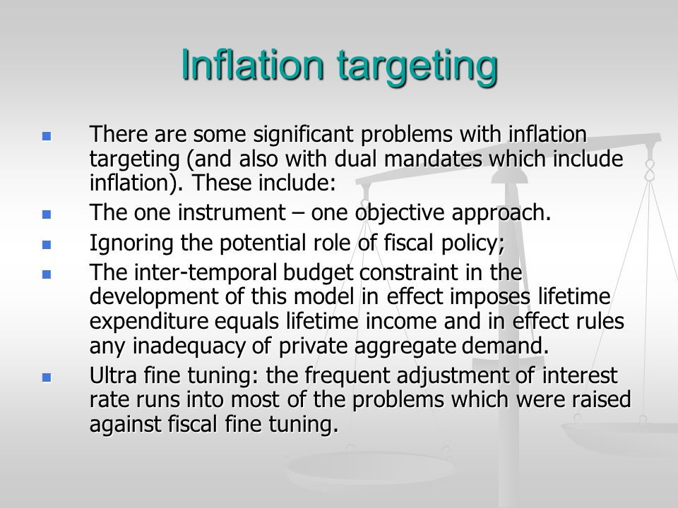 Inflation targeting There are some significant problems with inflation targeting (and also with dual mandates which include inflation). These include: