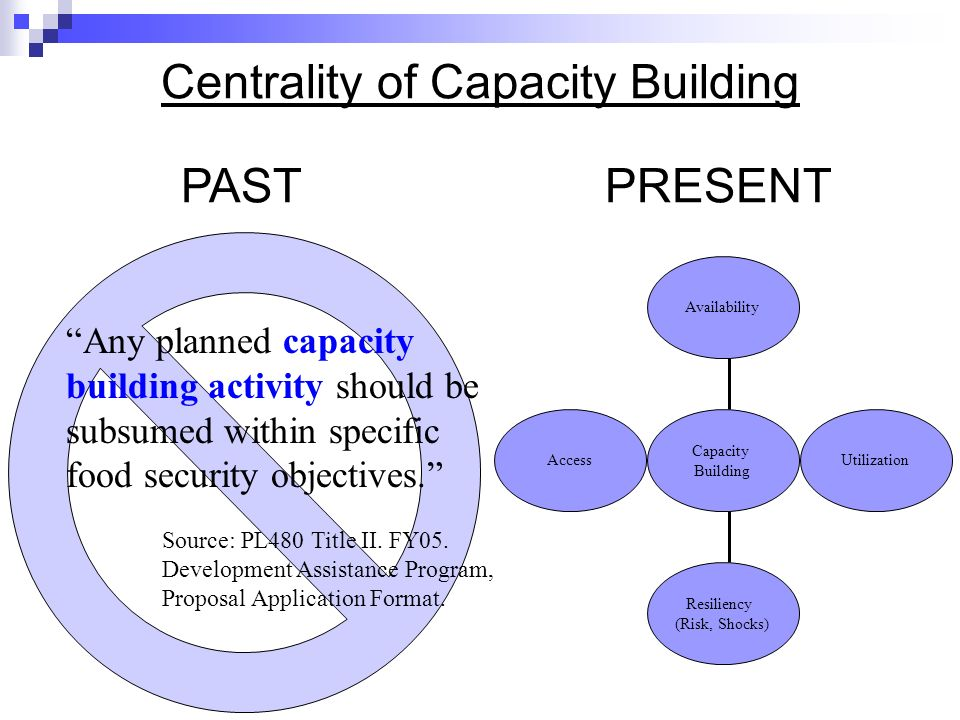 Centrality of Capacity Building Access Resiliency (Risk, Shocks) Utilization Availability Capacity Building Any planned capacity building activity should be subsumed within specific food security objectives.