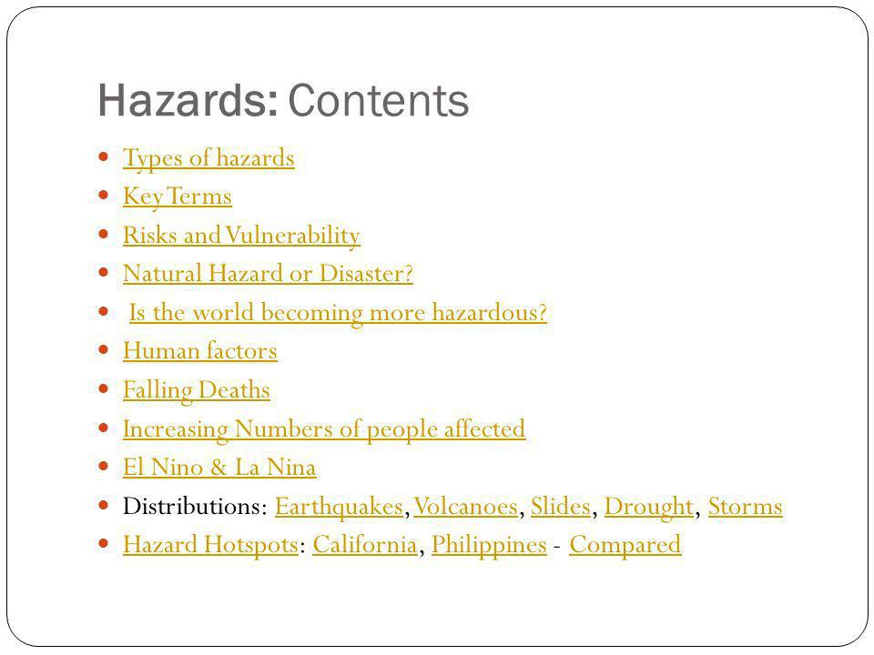 Hazards: Contents Types of hazards Key Terms Risks and Vulnerability Natural Hazard or Disaster? Is the world becoming more hazardous? Human factors F