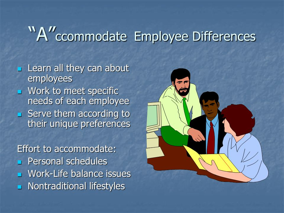 A ccommodate Employee Differences Learn all they can about employees Learn all they can about employees Work to meet specific needs of each employee Work to meet specific needs of each employee Serve them according to their unique preferences Serve them according to their unique preferences Effort to accommodate: Personal schedules Personal schedules Work-Life balance issues Work-Life balance issues Nontraditional lifestyles Nontraditional lifestyles