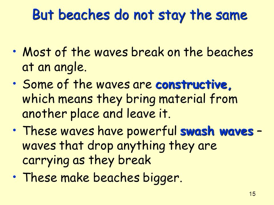 15 But beaches do not stay the same Most of the waves break on the beaches at an angle. constructive, Some of the waves are constructive, which means