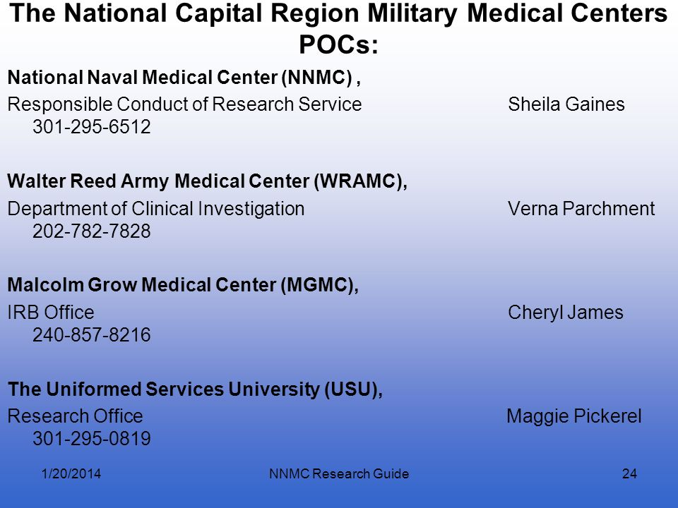The National Capital Region Military Medical Centers POCs: National Naval Medical Center (NNMC), Responsible Conduct of Research Service Sheila Gaines