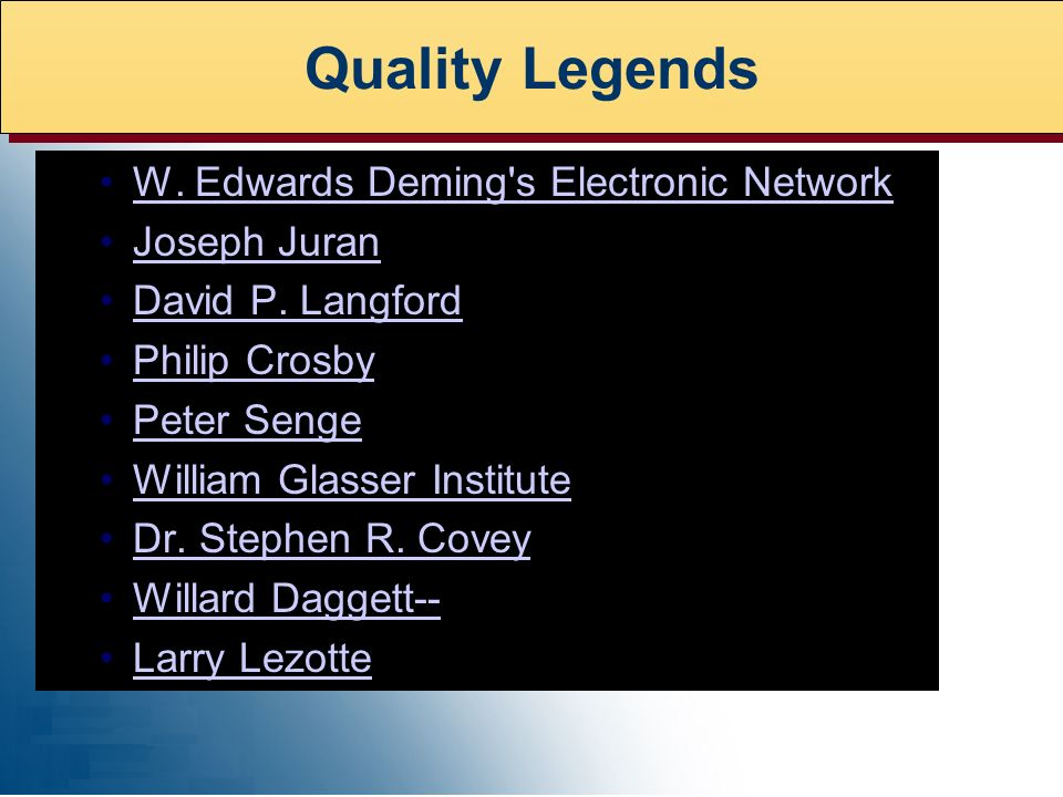 W. Edwards Deming s Electronic Network Joseph Juran David P.