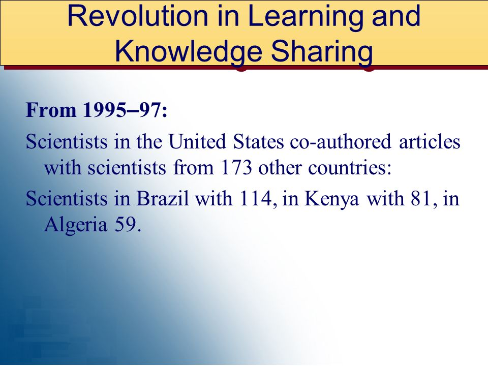From 1995 – 97: Scientists in the United States co-authored articles with scientists from 173 other countries: Scientists in Brazil with 114, in Kenya with 81, in Algeria 59.