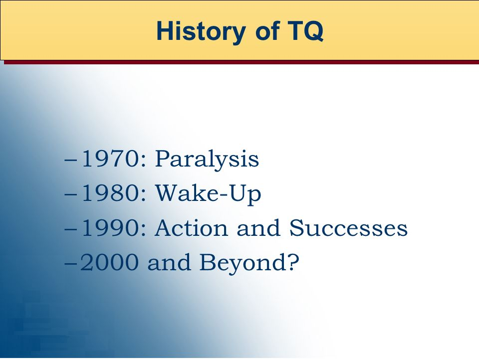 –1970: Paralysis –1980: Wake-Up –1990: Action and Successes –2000 and Beyond History of TQ