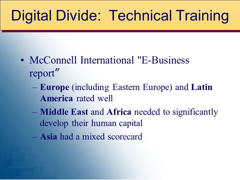 McConnell International E-Business report –Europe (including Eastern Europe) and Latin America rated well –Middle East and Africa needed to significantly develop their human capital –Asia had a mixed scorecard Digital Divide: Technical Training