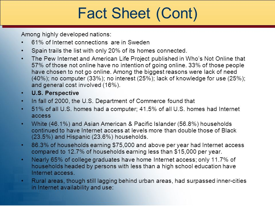 Among highly developed nations: 61% of Internet connections are in Sweden Spain trails the list with only 20% of its homes connected.