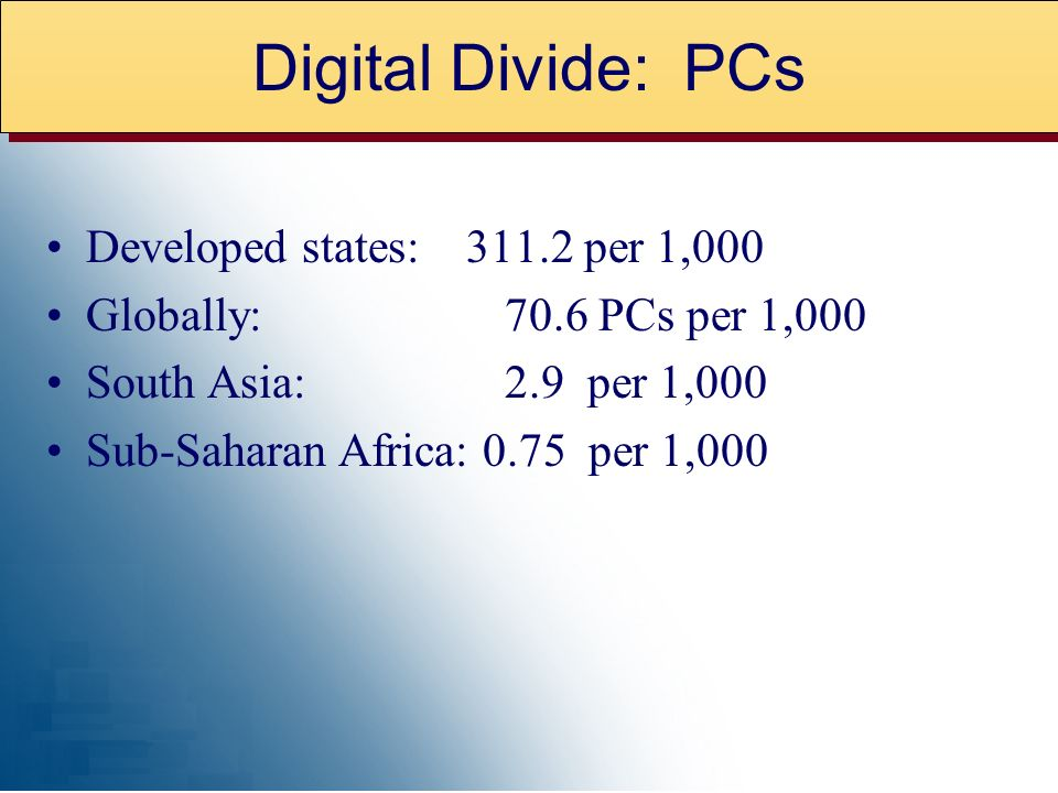Developed states: 311.2 per 1,000 Globally: 70.6 PCs per 1,000 South Asia: 2.9 per 1,000 Sub-Saharan Africa: 0.75 per 1,000 Digital Divide: PCs