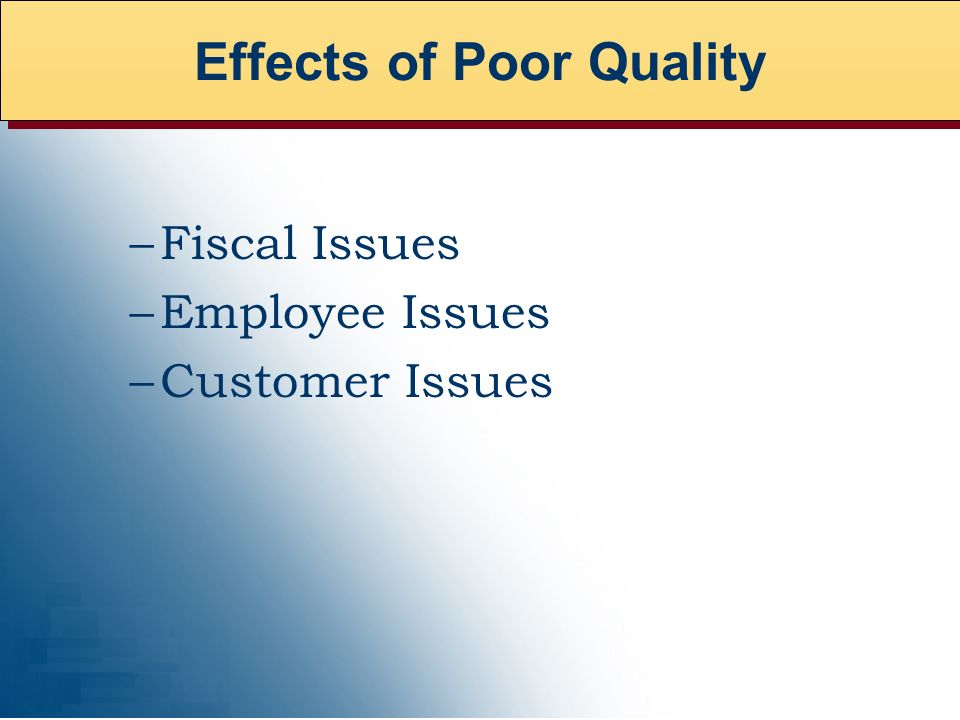 –Fiscal Issues –Employee Issues –Customer Issues Effects of Poor Quality