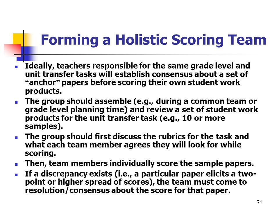 31 Forming a Holistic Scoring Team Ideally, teachers responsible for the same grade level and unit transfer tasks will establish consensus about a set