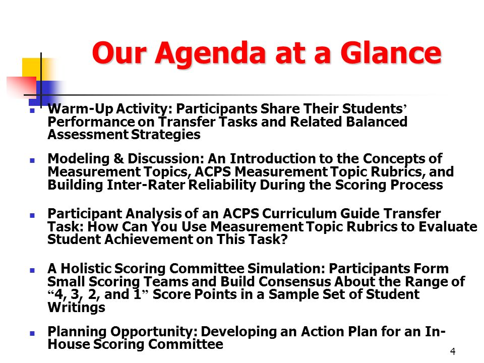 4 Our Agenda at a Glance Warm-Up Activity: Participants Share Their Students Performance on Transfer Tasks and Related Balanced Assessment Strategies
