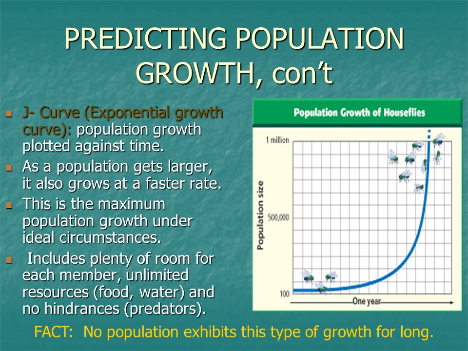 PREDICTING POPULATION GROWTH, cont J- Curve (Exponential growth curve): population growth plotted against time. J- Curve (Exponential growth curve): p