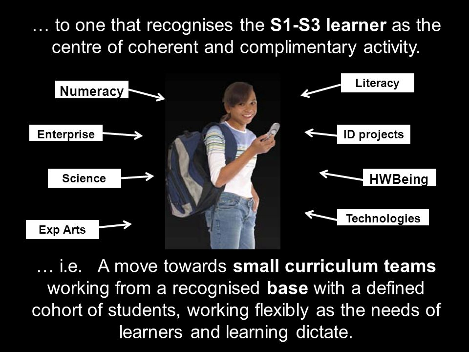 … to one that recognises the S1-S3 learner as the centre of coherent and complimentary activity.