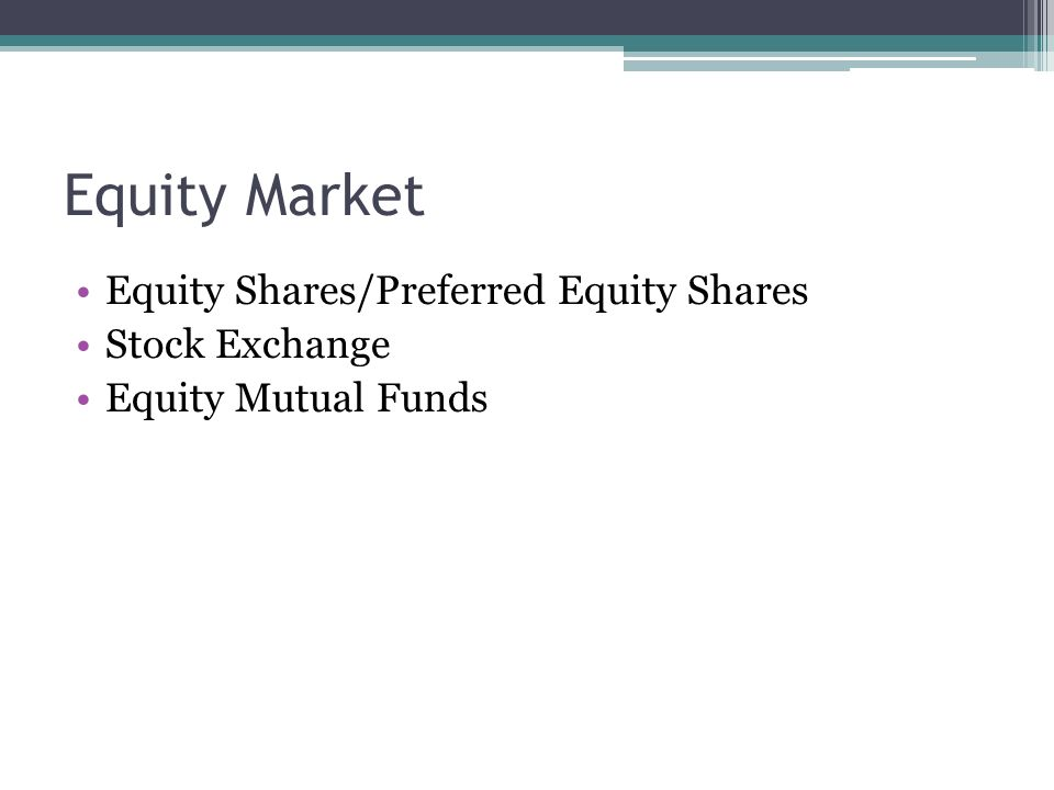 Equity Market Equity Shares/Preferred Equity Shares Stock Exchange Equity Mutual Funds