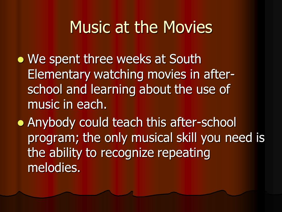 Introduction We started by learning about vocabulary such as the soundtrack and score of a film.