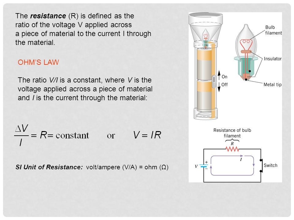 OHMS LAW The ratio V/I is a constant, where V is the voltage applied across a piece of material and I is the current through the material: SI Unit of