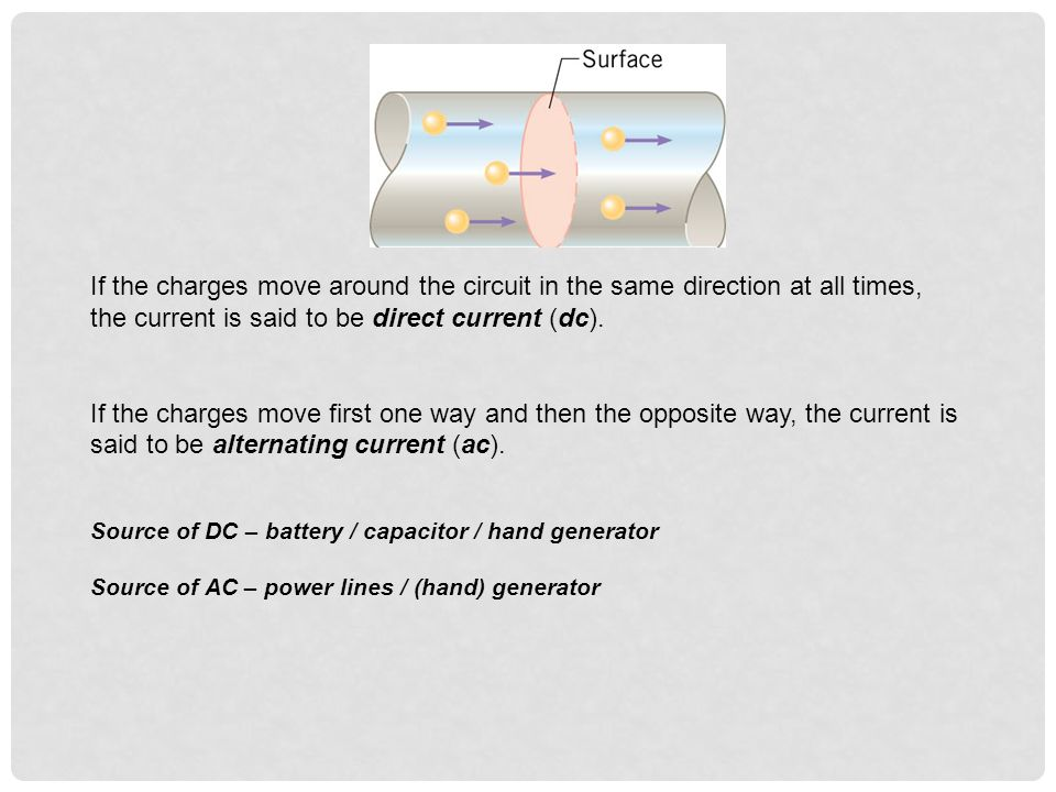 If the charges move around the circuit in the same direction at all times, the current is said to be direct current (dc). If the charges move first on