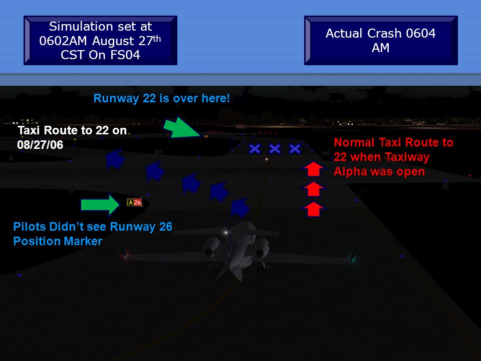 Runway 22 is over here! Taxi Route to 22 on 08/27/06 Normal Taxi Route to 22 when Taxiway Alpha was open Simulation set at 0602AM August 27 th CST On