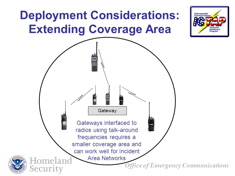 Office of Emergency Communications Deployment Considerations: Extending Coverage Area Gateways interfaced to radios using talk-around frequencies requires a smaller coverage area and can work well for Incident Area Networks Gateway