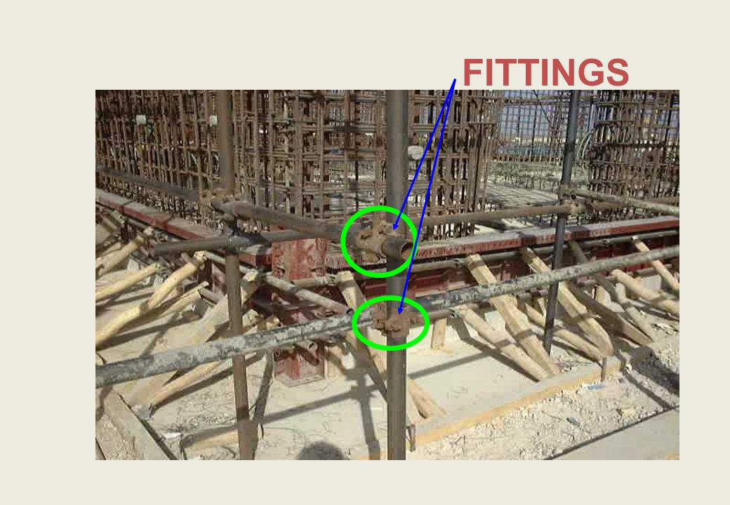 Fittings Fittings hold the structure together Made from high quality steel Must be maintained Many different types