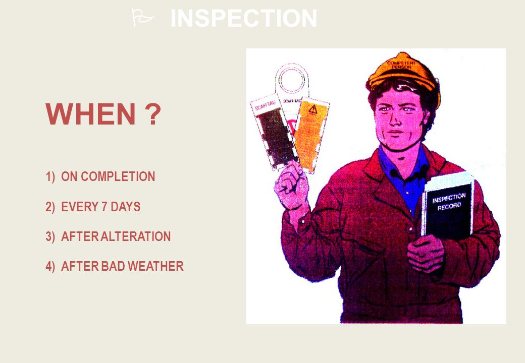 INSPECTION 1) ON COMPLETION 2) EVERY 7 DAYS 3) AFTER ALTERATION 4) AFTER BAD WEATHER WHEN ?