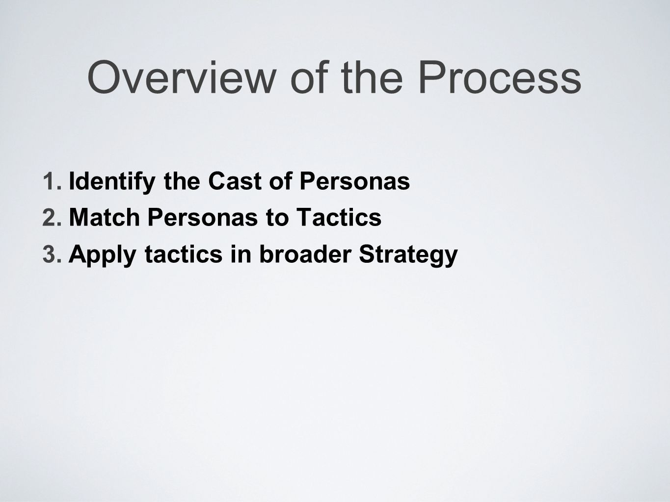 Overview of the Process 1. Identify the Cast of Personas 2.