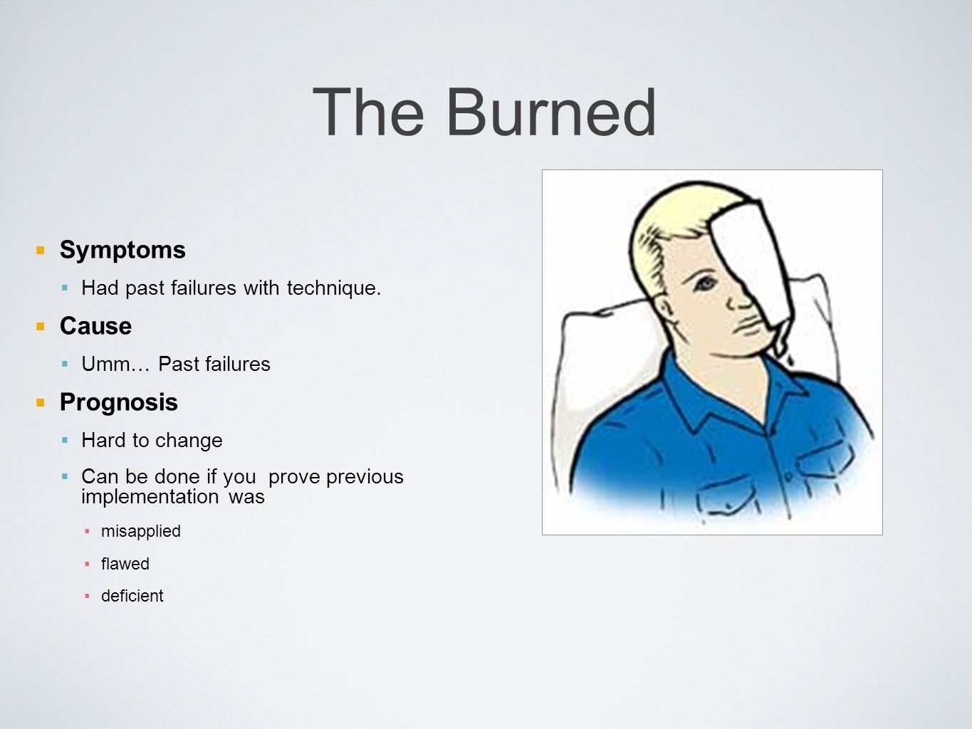 The Burned Symptoms Had past failures with technique.