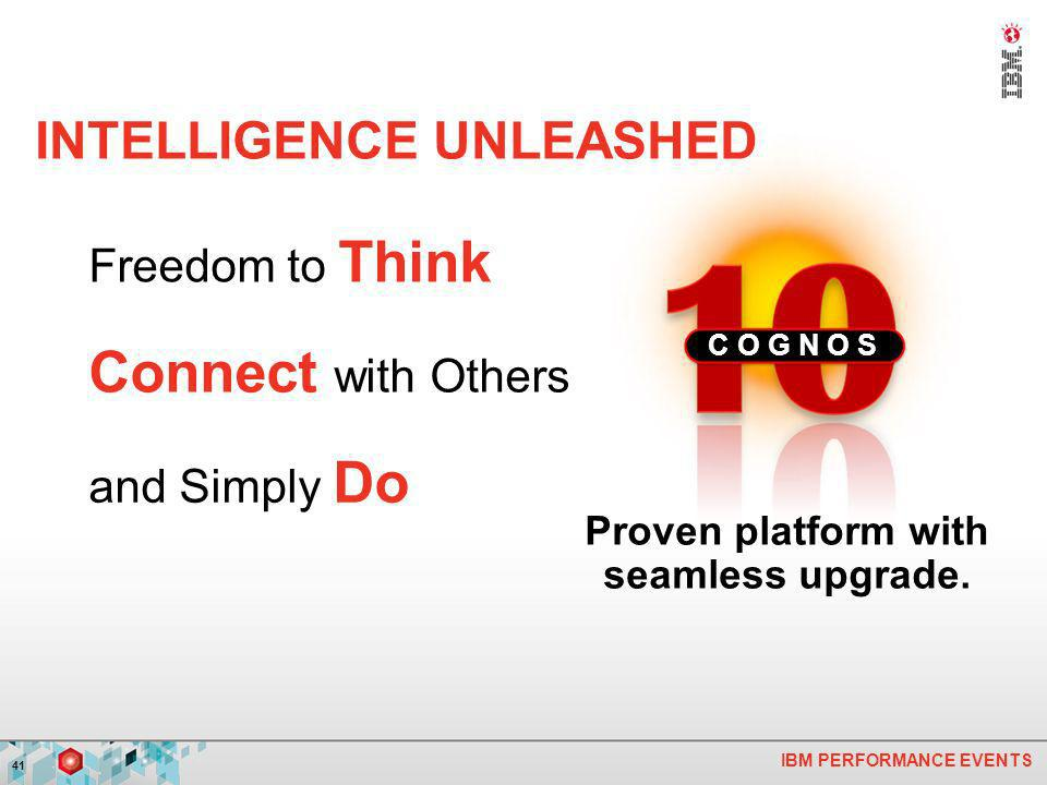 IBM PERFORMANCE EVENTS 41 Freedom to Think Connect with Others and Simply Do C O G N O S INTELLIGENCE UNLEASHED Proven platform with seamless upgrade.