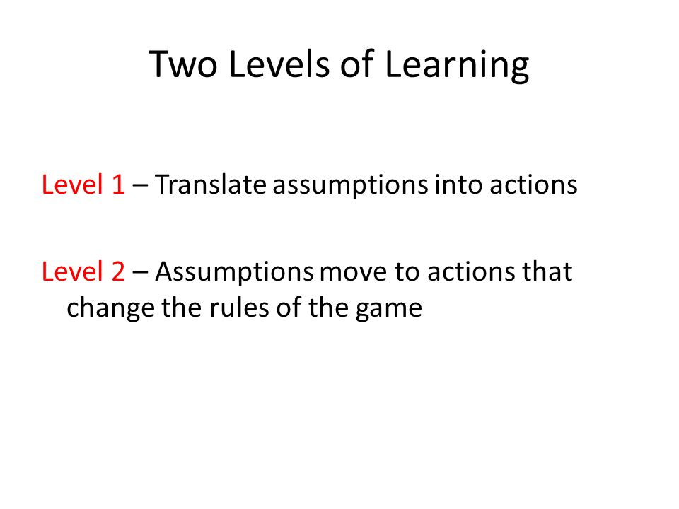 Two Levels of Learning Level 1 – Translate assumptions into actions Level 2 – Assumptions move to actions that change the rules of the game