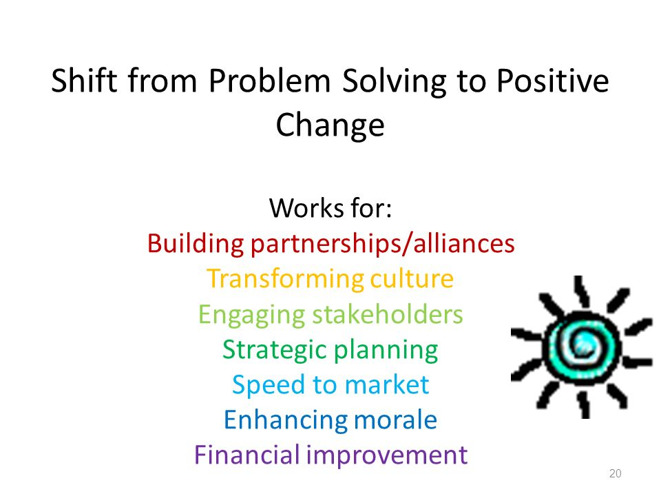 Shift from Problem Solving to Positive Change Works for: Building partnerships/alliances Transforming culture Engaging stakeholders Strategic planning Speed to market Enhancing morale Financial improvement 20