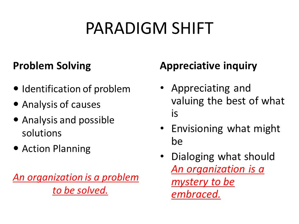 PARADIGM SHIFT Problem Solving Identification of problem Analysis of causes Analysis and possible solutions Action Planning An organization is a problem to be solved.