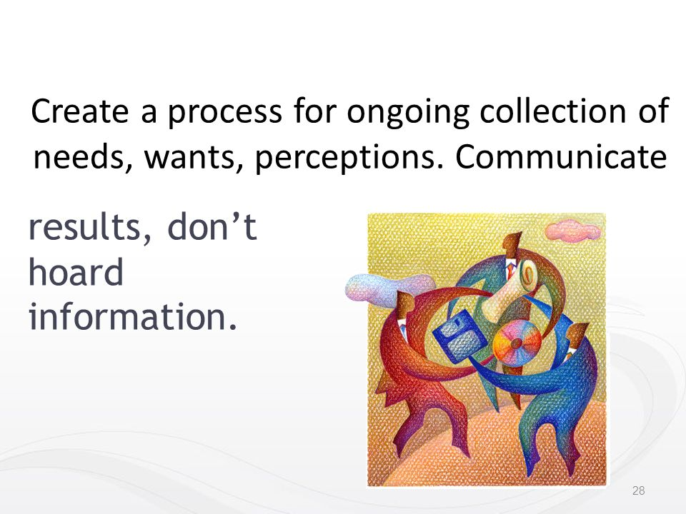 Create a process for ongoing collection of needs, wants, perceptions.