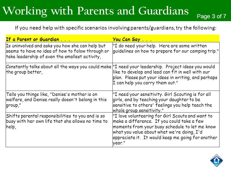 Working with Parents and Guardians Page 3 of 7 If you need help with specific scenarios involving parents/guardians, try the following: If a Parent or