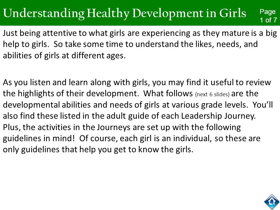 Understanding Healthy Development in Girls Just being attentive to what girls are experiencing as they mature is a big help to girls. So take some tim