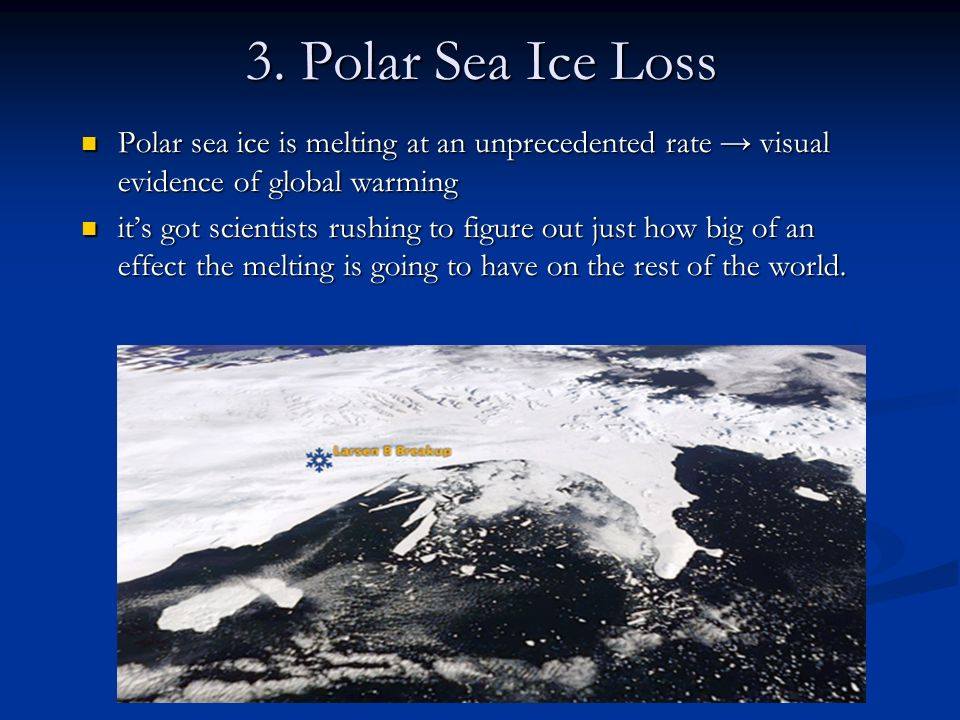 3. Polar Sea Ice Loss Polar sea ice is melting at an unprecedented rate visual evidence of global warming Polar sea ice is melting at an unprecedented