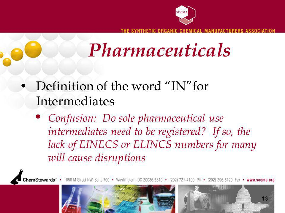 Pharmaceuticals Definition of the word INfor Intermediates Confusion: Do sole pharmaceutical use intermediates need to be registered.