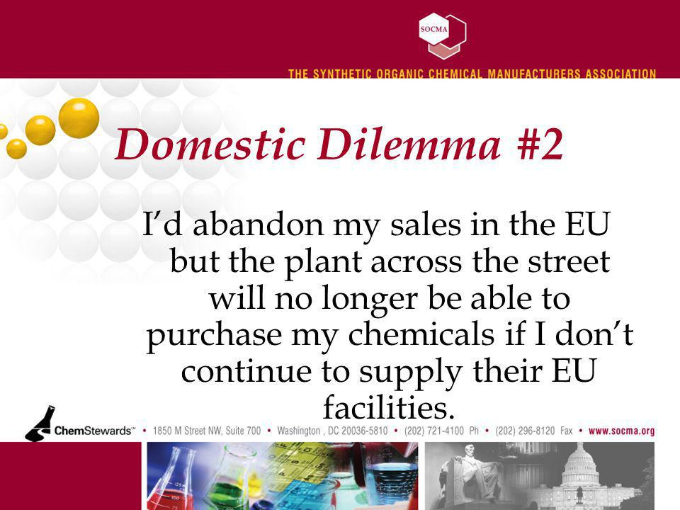 Domestic Dilemma #2 Id abandon my sales in the EU but the plant across the street will no longer be able to purchase my chemicals if I dont continue to supply their EU facilities.