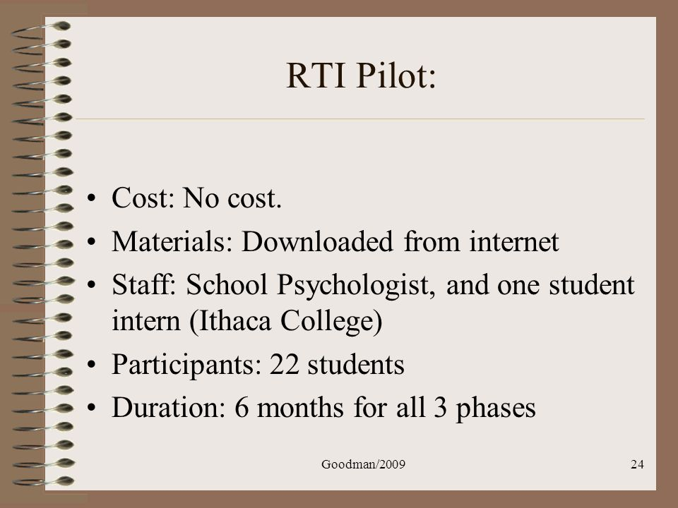Goodman/200924 RTI Pilot: Cost: No cost. Materials: Downloaded from internet Staff: School Psychologist, and one student intern (Ithaca College) Parti