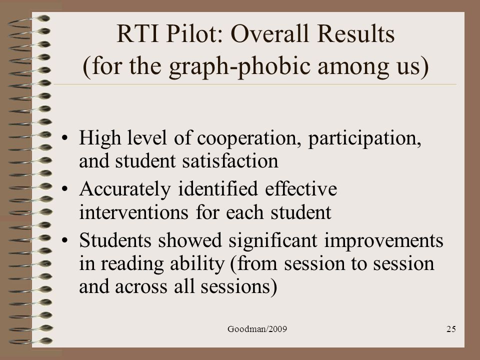 Goodman/200925 RTI Pilot: Overall Results (for the graph-phobic among us) High level of cooperation, participation, and student satisfaction Accuratel
