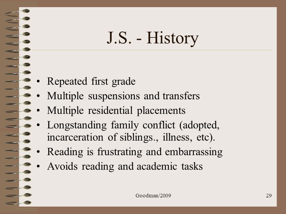Goodman/200929 J.S. - History Repeated first grade Multiple suspensions and transfers Multiple residential placements Longstanding family conflict (ad