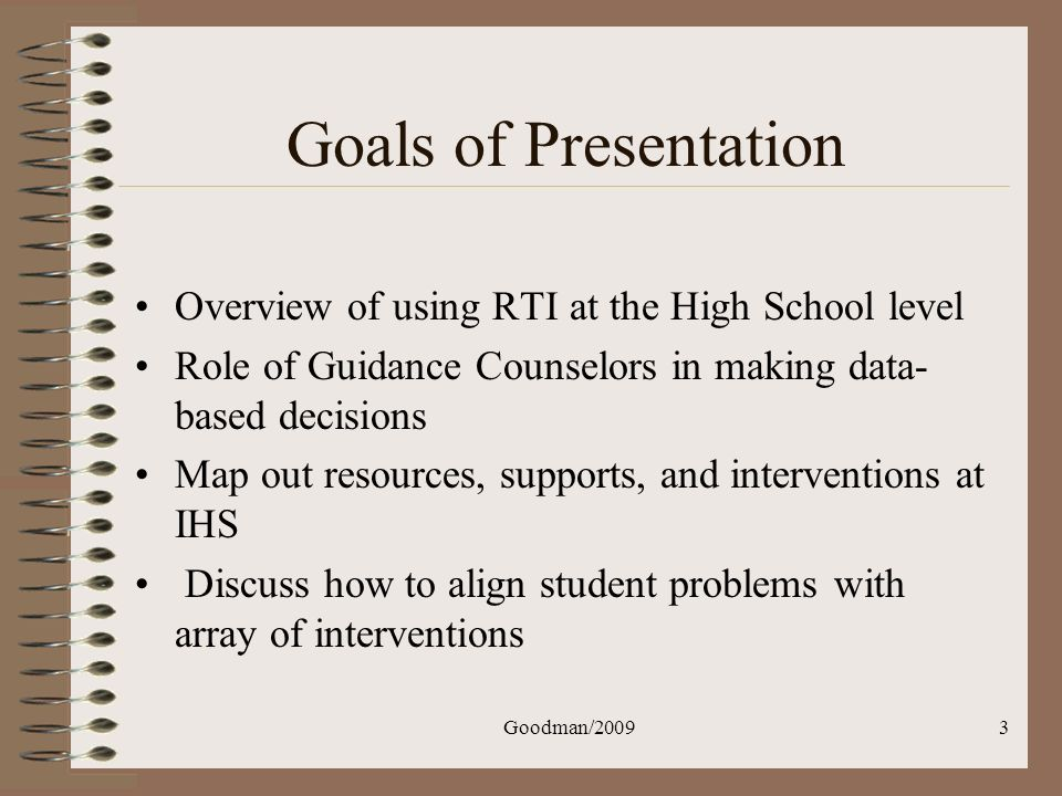 Goodman/200944 Five Possible Reasons for Academic Difficulty Not motivated Not spent enough time practicing Not received enough help Not had to use the skill that way before Too hard - Chafouleas, Riley-Tillman, & McGrath, 2002