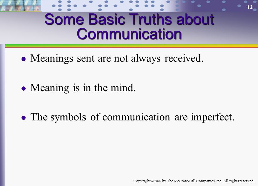 Copyright © 2002 by The McGraw-Hill Companies, Inc. All rights reserved. 12 Some Basic Truths about Communication Meanings sent are not always receive