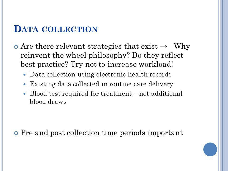 D ATA COLLECTION Are there relevant strategies that exist Why reinvent the wheel philosophy? Do they reflect best practice? Try not to increase worklo