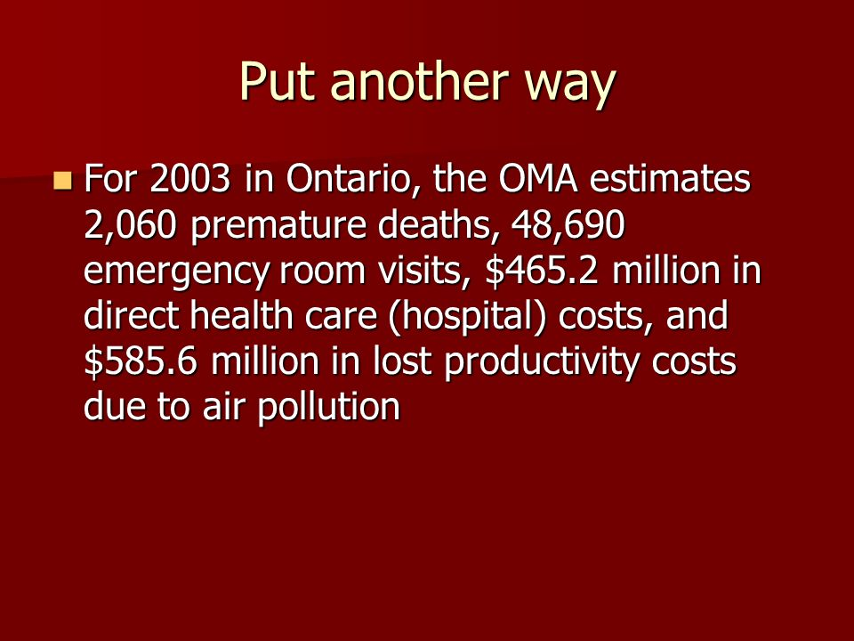 Put another way For 2003 in Ontario, the OMA estimates 2,060 premature deaths, 48,690 emergency room visits, $465.2 million in direct health care (hospital) costs, and $585.6 million in lost productivity costs due to air pollution For 2003 in Ontario, the OMA estimates 2,060 premature deaths, 48,690 emergency room visits, $465.2 million in direct health care (hospital) costs, and $585.6 million in lost productivity costs due to air pollution