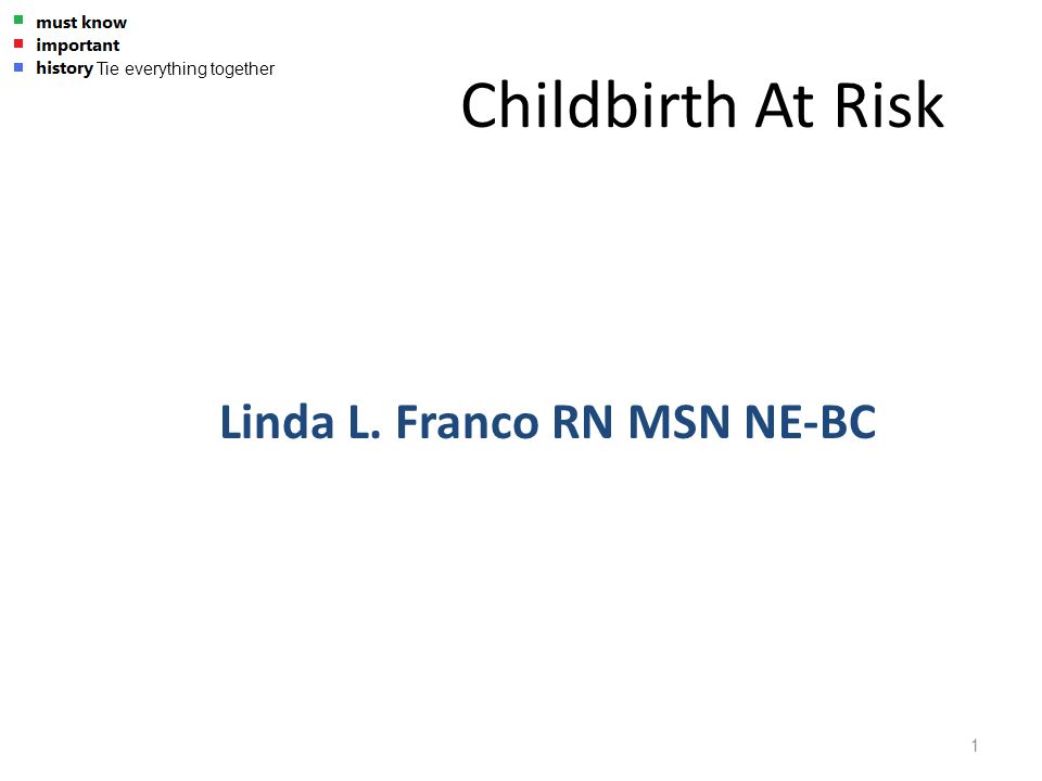 Childbirth At Risk Linda L. Franco RN MSN NE-BC - Tie everything together 1